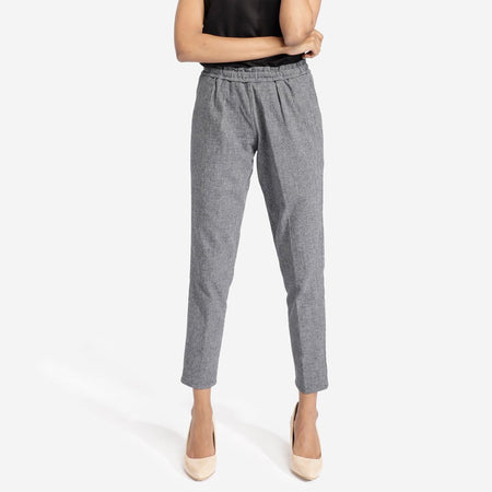 Blue and Grey Plated Plaid Trousers
