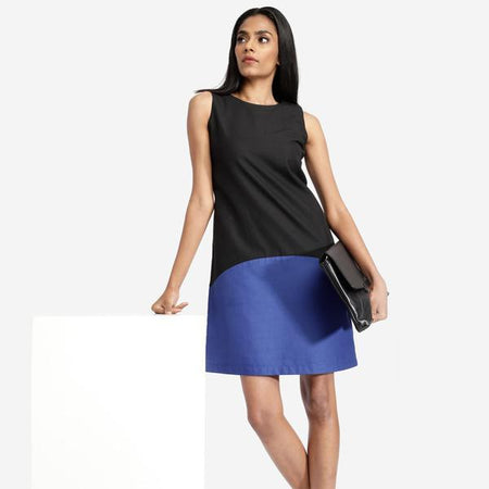 Black Blue Colour Block A-line Dress