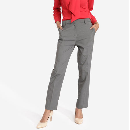 Dark Grey Striped Straight Fit Trousers