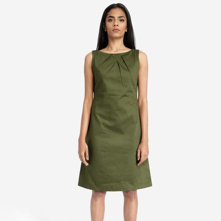 Olive Green Sleeveless Dress with Fine Knife Pleats