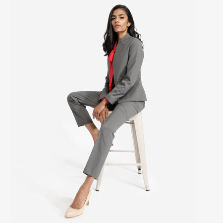 Grey Pin Striped Workwear Blazer With Front Pockets