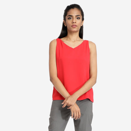 Candy Red V neck Sleeveless Top