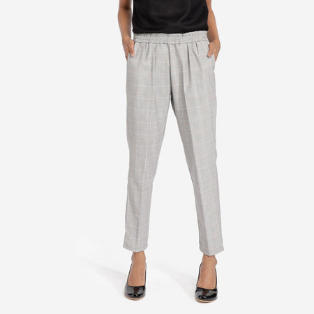 Fossil Grey Plaid Workwear Trousers