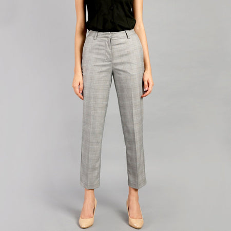 Chromium Grey Checkered Straight Fit Trouser