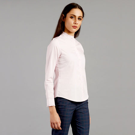 Amour Pink Ruffle Collar Formal Shirt