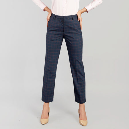 Sailor Blue Checkered Straight Fit Trouser