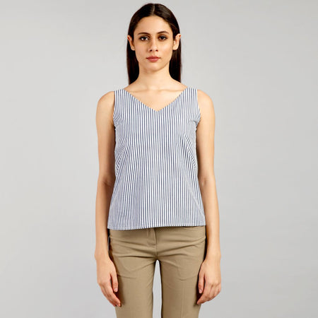 Midnight Blue Awning Striped Strap Top