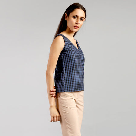 Steel Blue Gingham V-neck Top