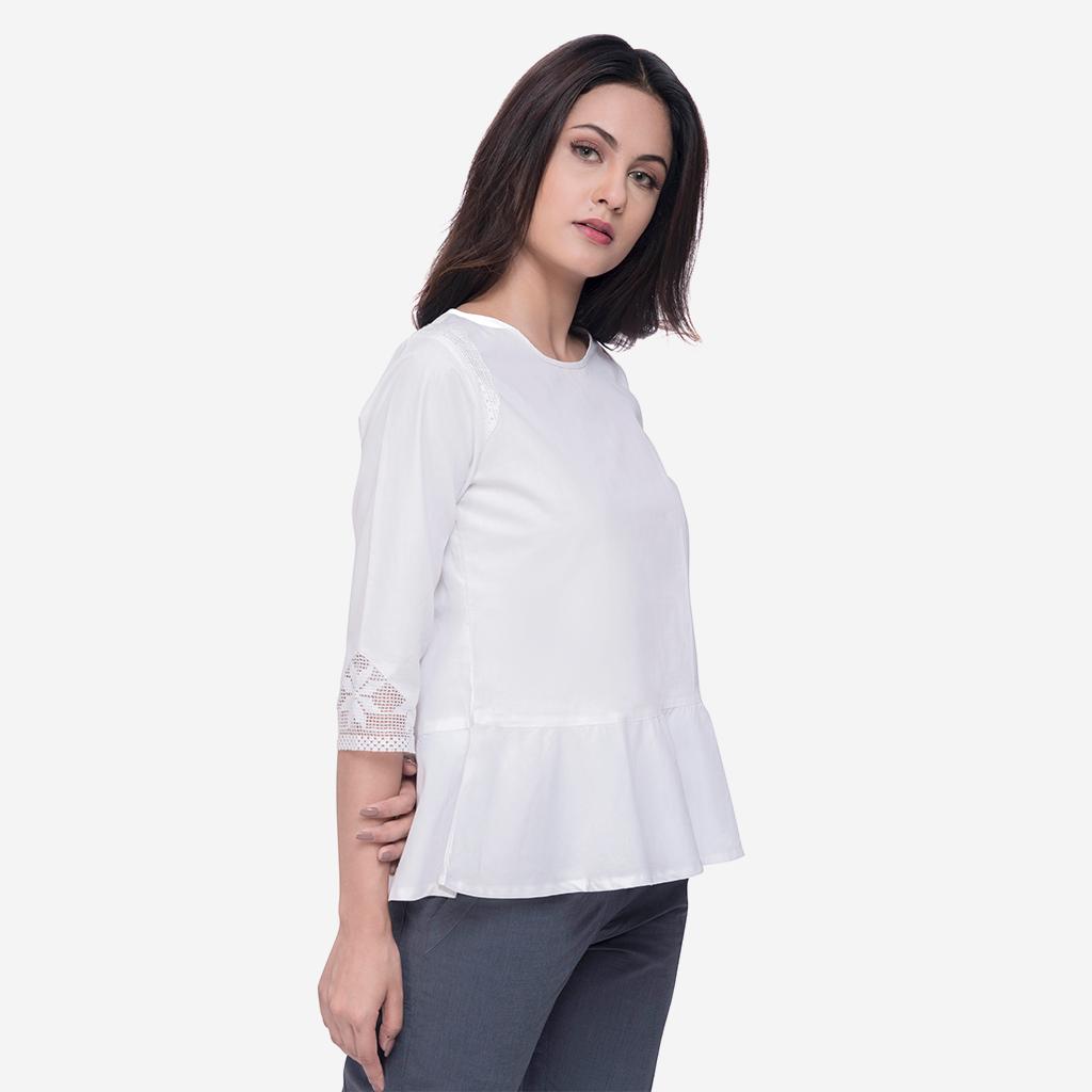 White Peplum Cotton Top with Lace Inserts