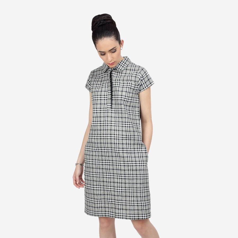 Grey Checks Cotton Knee Length Dress