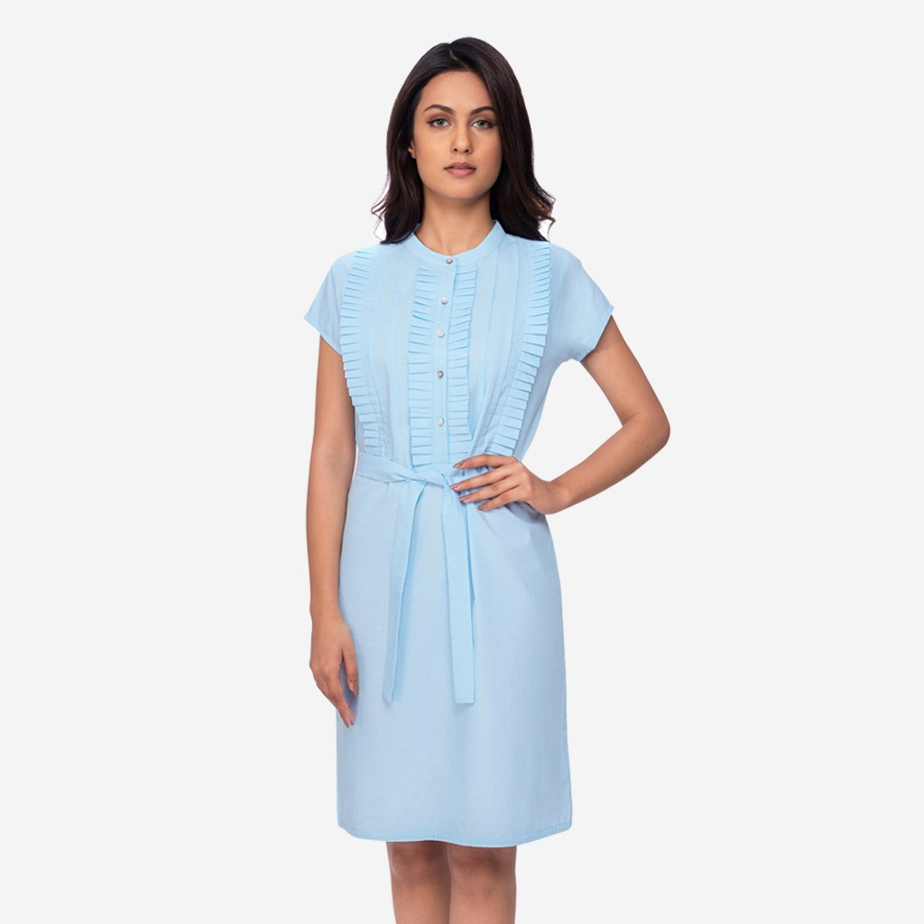 00bc9b3609 Pastel Light Blue Pleated A-line Formal Work Dress For Women