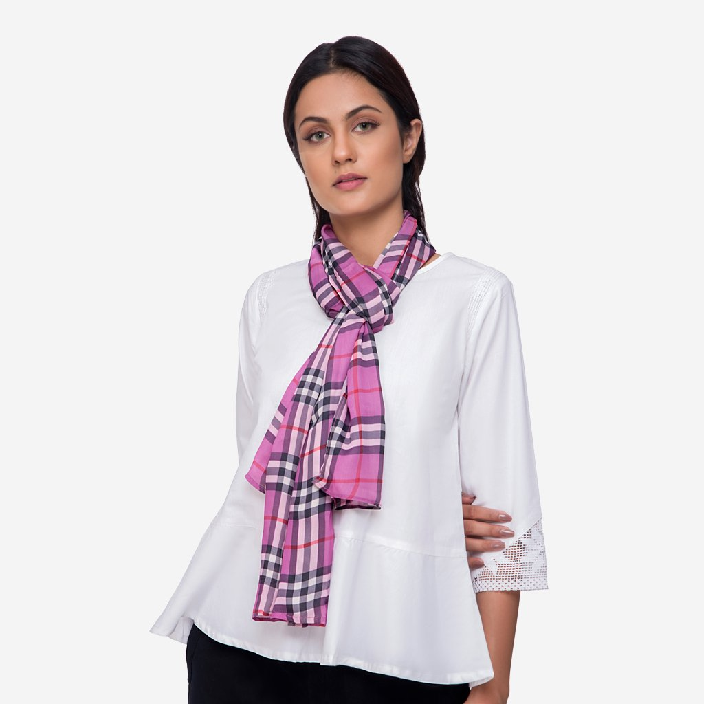 Pink Plaid Silk Stole