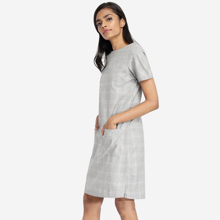 Grey Checkered Tunic Dress With Patch Pockets