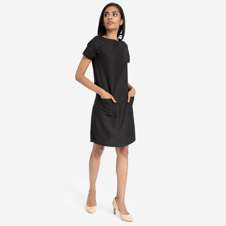 Black Formal Tunic Dress With Patch Pockets
