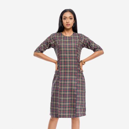 Grey Plaid Bodycon Dress With 3/4th Sleeves