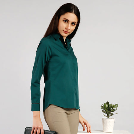 Envy Green Cotton Shirt with Contrast Piping