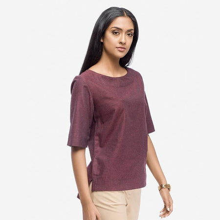 Wine Red Regular Fit Boxy Top