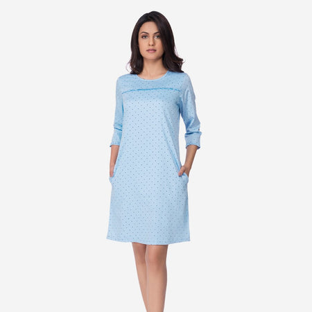 Blue Polka Dot Knee Long Shift Dress with Pockets