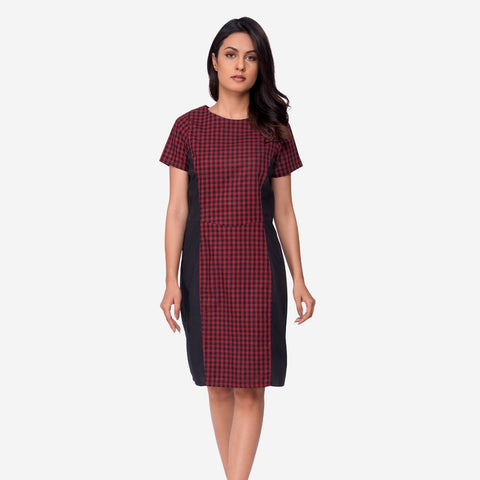 Black and Red Gingham Print A-line Cotton Dress 3aa185d68