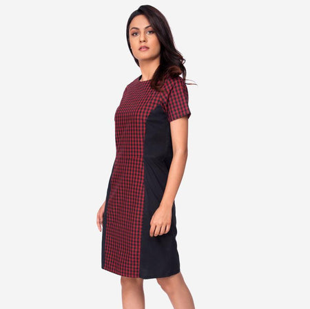 Black Women formal dress modern work dresses women dresses western party wears A-line dress in soft cotton with a round neck and short sleeves that fall on the knees.