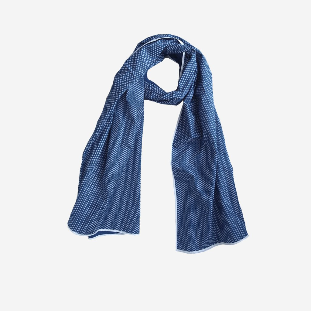 Printed Blue Cotton Stole