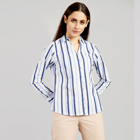 Hairline Striped V Neck shirt