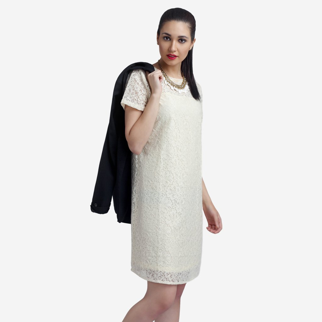 Off-White Cotton Lace Shift Dress