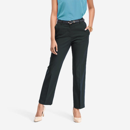 Charcoal Grey Straight Fit Trousers