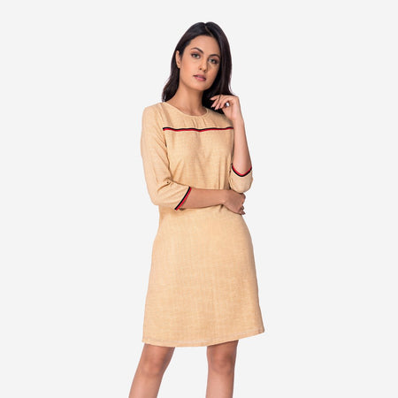 Tan Georgette A-Line Dress with Contrast Stripes