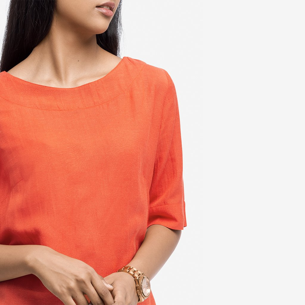Orange Regular Fit Box Smart Casual Top