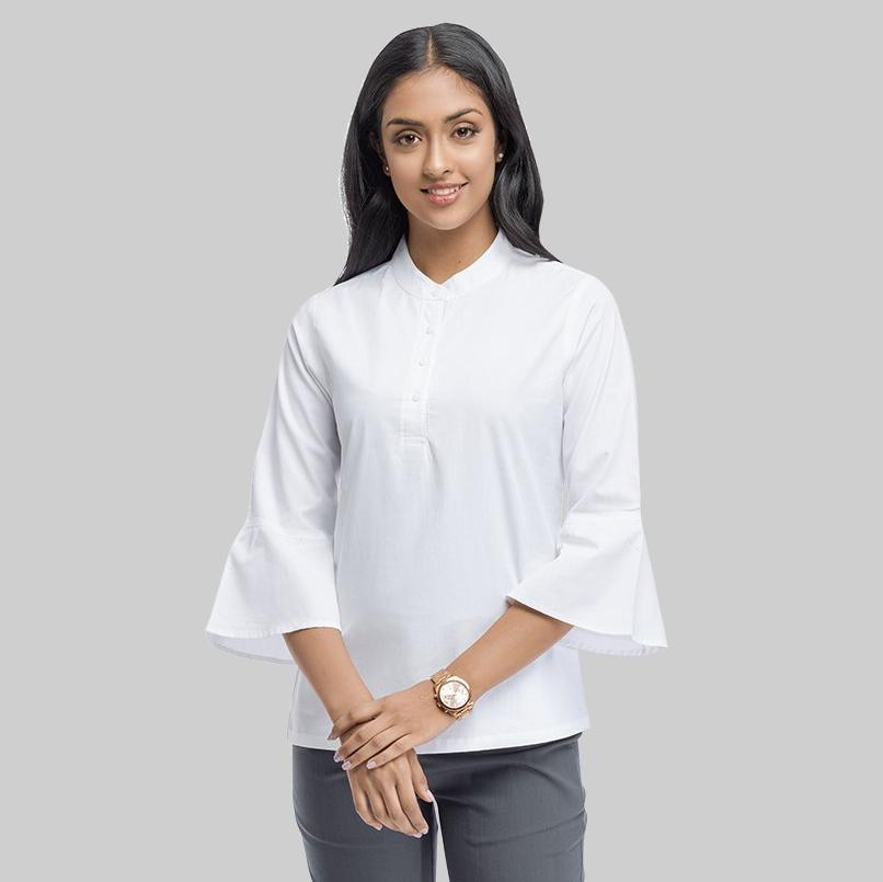 d51ae7e06e40c5 Home White Cotton Regular Fit Bell Sleeve Top. Previous