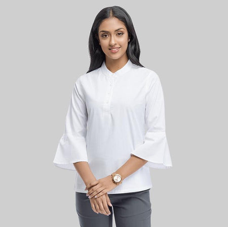 White Cotton Regular Fit Bell Sleeve Top