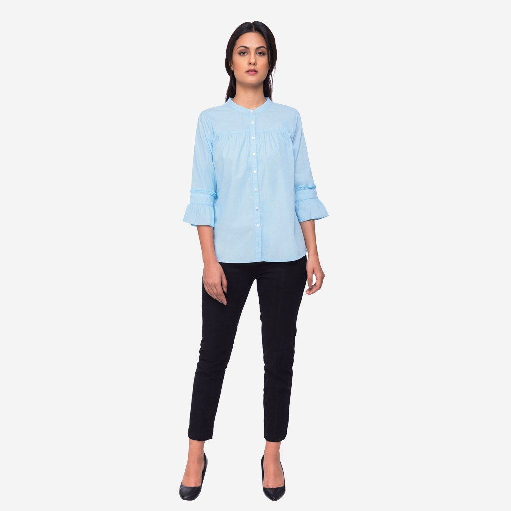 Pastel Blue Cotton Shirt with Pleated Cuffs