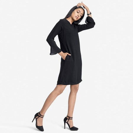 Black Knee Length A-Line Easy Care Georgette Dress