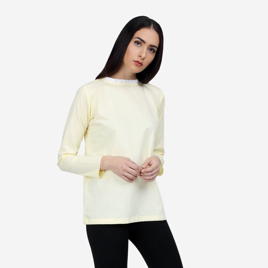 Cotton Pastel Yellow Top with Neck Ruffles