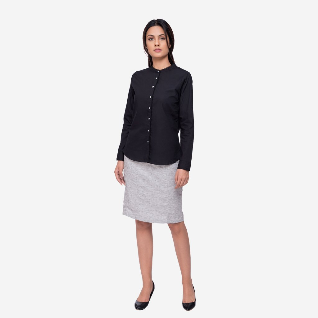 Black Cotton Regular Fit Formal Shirt with Lace