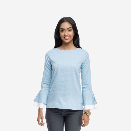 Powder Blue Cotton Twill Top with Volume Sleeves