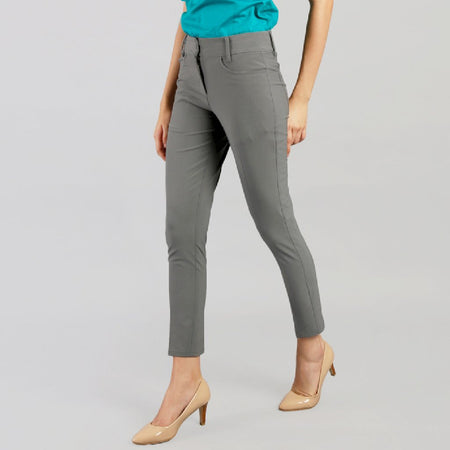 Cool Grey Slim Fit Formal Trousers