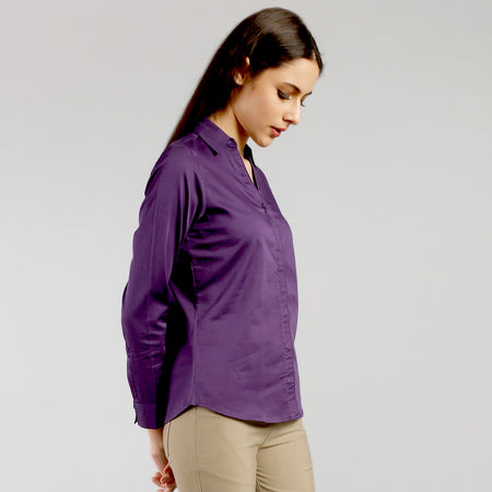 Eggplant V Neck Formal Shirt