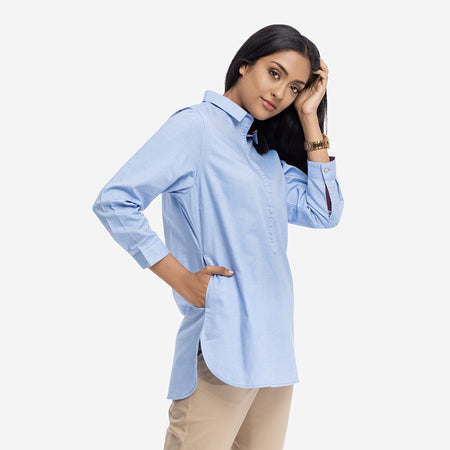 Light Blue Shirt Tunic with Gathered Placket