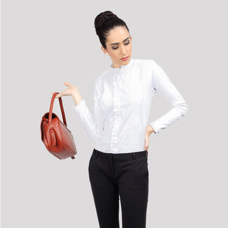 White Tailored Formal Shirt with Ruffles