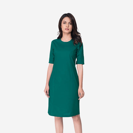 Green Cotton Bodycon Sheath Long Dress with Pintucks