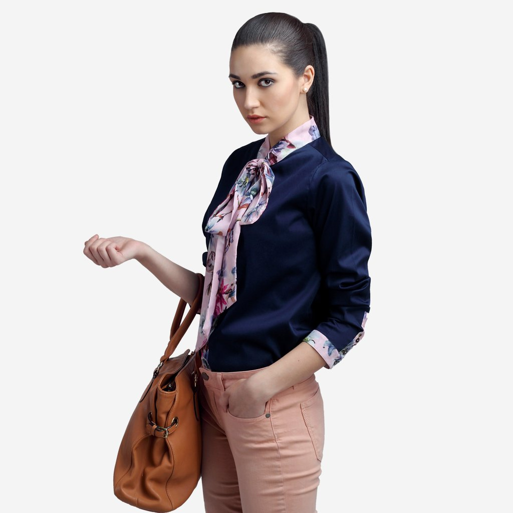 Crop Giza Cotton shirt with bow tie