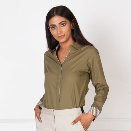 Olive V-Neck Formal Shirt with Contrast Piping