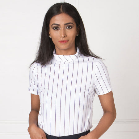 White and Blue Stripes High Neck Top