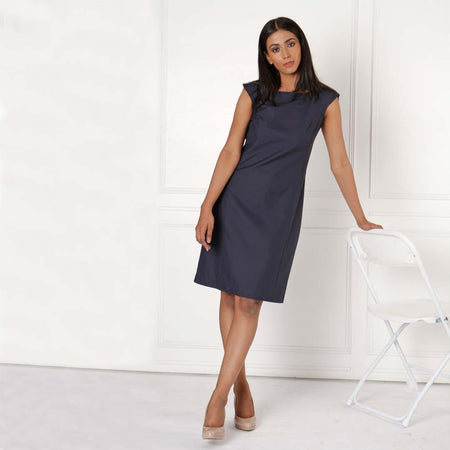 Navy Blue Sleeveless Tailored Formal Dress