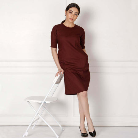 Maroon Cotton Bodycon Dress