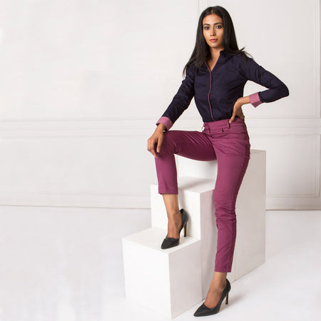 Shop Light Purple Slim Fit Trousers at great prices with fast shipping