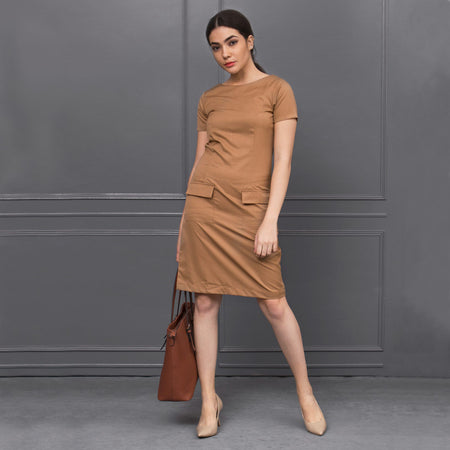 Camel Brown Sheath Dress