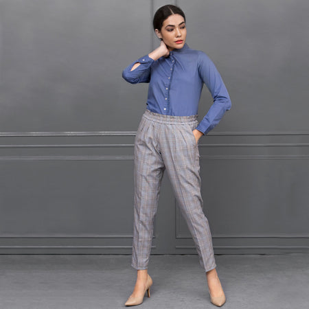 Light Grey Checks Corded Trousers